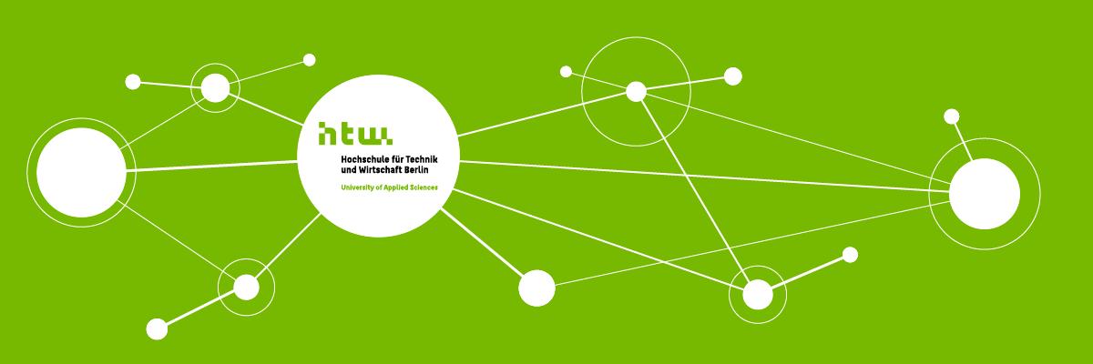 Netzwerk Grafik mit HTW-Logo in der Mitte