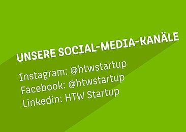 Unsere Social Media Kanäle mit entsprechenden Links (durch Klick auf Seite erreichbar)