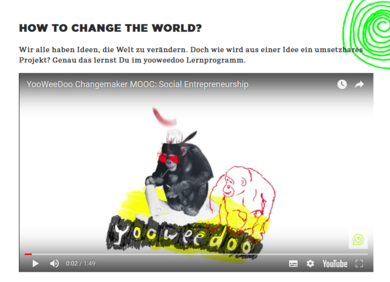"""Text: """"How to change the world? - Wir alle haben Ideen die Welt zu verändern. Doch wie wird aus einer Idee ein umsetzbares Projekt? Genau das lernst du im yooweedoo Lernprogramm."""" Daneben ein Youtube Screenshot."""