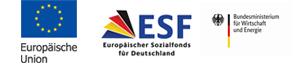 Logos der EU, des ESF und des Bundesamt für Wirtschaft und Technik