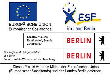 Logos der Mittelgeber (von links oben, nach unten: Europäischer Sozialfond, ESF im Land Berlin, der regierende Bürgermeister von Berlin Senatskanzlei - Wissenschaft und Froschung. )