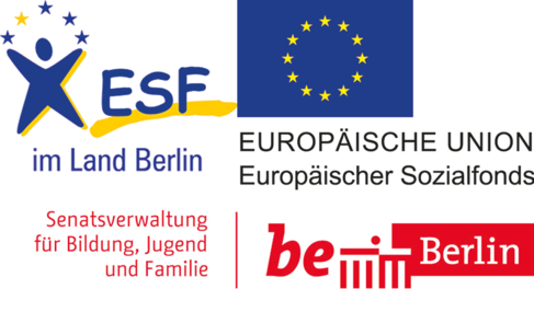 Logos des ESF, der EU und der Stadt Berlin.