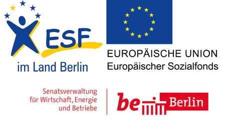 Logos des ESF, der EU und der Stadt Berlin Senatsverwaltung für Wirtschaft, Energie und Betriebe